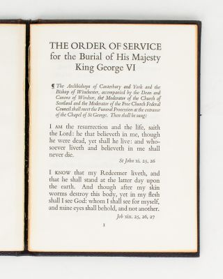 The Order of Service for the Burial of His Majesty King George VI [drop title]