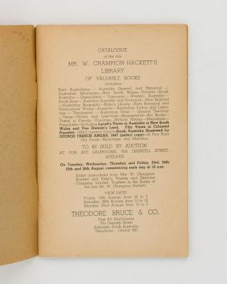 Catalogue of the late Mr. ... Champion Hackett's Library of Valuable Books ...