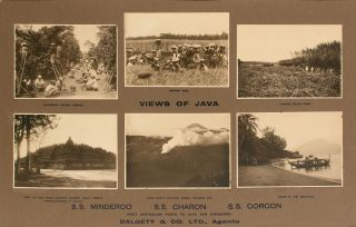 "'Views of Java.. SS ""Minderoo"" - SS ""Charon"" - SS ""Gorgon"". West Australian Ports to Java and Singapore. Dalgety & Co. Ltd., Agents'"