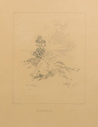 Three original pencil drawings, being 'facsimile illustrations' of his artwork in 'The Songs of a...