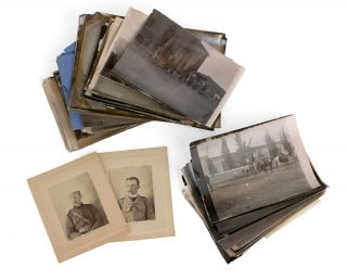 A collection of six different portrait photographs of Lieutenant (later Captain) Samuel Albert White, together with 65 personal snapshots relating to his Boer War experiences. Boer War, Captain Samuel Albert WHITE.