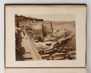 A fine morocco album (365 × 290 mm) containing 90 albumen paper photographs of Ceylon, Egypt and the Suez Canal, Malta and England, put together in the late 1880s by a well-heeled traveller