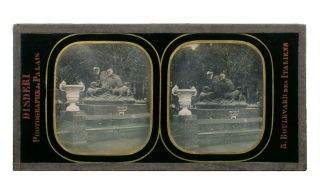 A stereo-daguerreotype (86 × 173 mm) of the Exposition Universelle in Paris in 1855, the first...