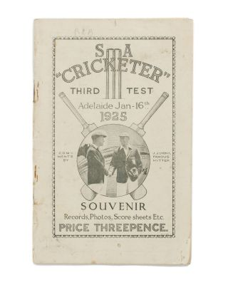 SA 'Cricketer'. Third Test. Adelaide Jan 16th 1925. Souvenir. Records, Photos, Score Sheets Etc....