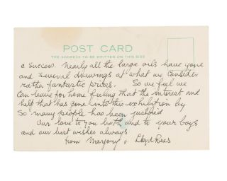An autograph postcard signed by Lloyd Rees (both sides of a plain postcard with the letterhead of...