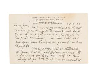 An autograph postcard signed by Lloyd Rees (both sides of a plain postcard with the letterhead of the Sesame Pioneer and Lyceum Club, Grosvenor St, London, 17 September 1973)