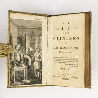 The Life and Opinions of Tristram Shandy, Gentleman [eight volumes of the nine-volume set, with three volumes signed by the author]