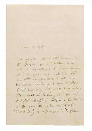 An autograph letter, in French, signed by Berlioz to his friend Charles Hallé, the German...