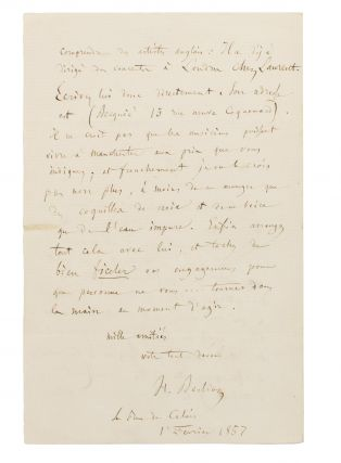 An autograph letter, in French, signed by Berlioz to his friend Charles Hallé, the German conductor and pianist, dated 1 February 1857, regarding the recruitment of French musicians for the important Manchester Art Treasures Exhibition (May to October 1857)