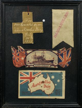 A collage of souvenirs from the first 'Australia Day' celebrations, held on 30 July 1915. 30 July...