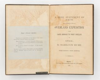 A Brief Statement of Facts in Connexion with an Overland Expedition from Lake George to Port Phillip, in 1824