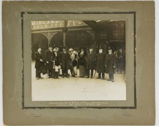 'Arrival of the Hon. A.H. Peake, the Premier of South Australia and Party at Manchester on 7th April 1913' [a vintage photograph]