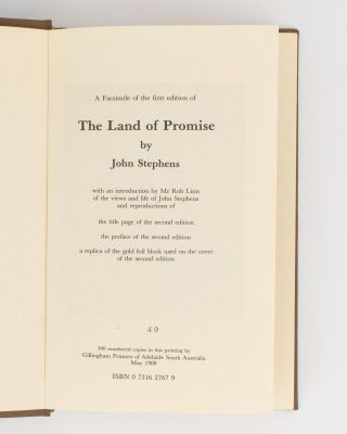 The Land of Promise. Being an Authentic and Impartial History of the Rise and Progress of the New British Province of South Australia .. by One who is going