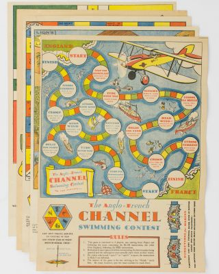 A collection of four board games and one cut-out paper doll. The games are: 'The Anglo-French...