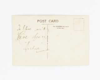 """A vintage postcard-format gelatin silver photograph inscribed in ink on the verso 'To Olive with Love from """"Archie""""'"""