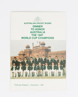 Australian Cricket Board. Dinner to honor Australia, the 1987 World Cup Champions. Parkroyal,...