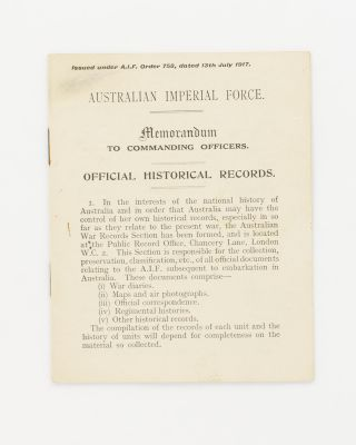 Australian Imperial Force. Memorandum to Commanding Officers. Official Historical Records [drop...