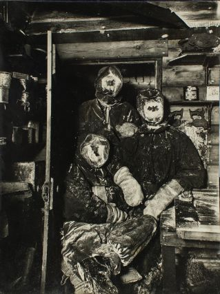 Three expeditioners with 'masks of ice'. A vintage gelatin silver photograph (207 × 156 mm),...