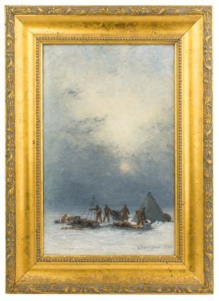 'Erecting Tents in a Blizzard'. An evocative original oil painting from Douglas Mawson's...
