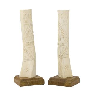 A pair of vases fashioned from the shin bones of domestic cattle by civilian internees on the...