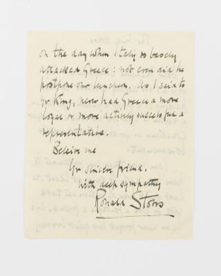 An autograph letter of condolence signed by Sir Ronald Storrs to the widow of Charalambos John...