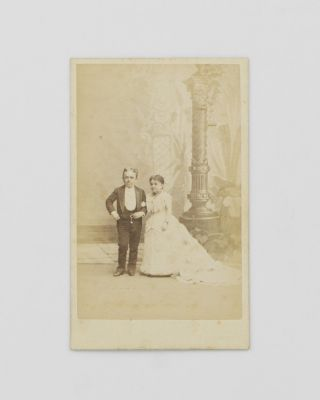 A carte de visite of Count Primo Magri (1849-1920), an Italian dwarf, and his wife, Lavinia...