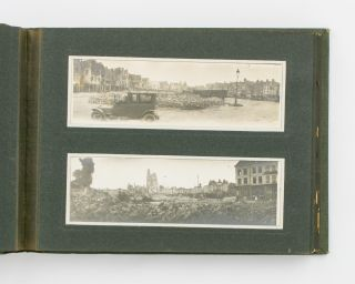 An album of panoramic photographs showing scenes of destruction on the Western Front, mostly...