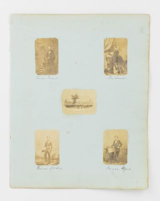 Four small vintage portrait photographs of Queen Victoria, her husband Albert, Prince Consort,...