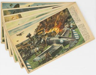 Six Second World War-vintage colour-pictorial pieces of Japanese patriotic ephemera, with artwork...