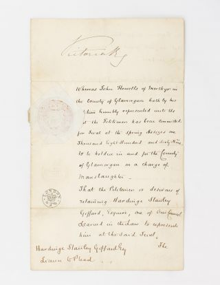 A manuscript licence to plead (written in a secretarial hand), signed at the head by Queen...