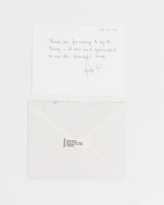 Four typed letters and an autograph card, all signed by Felix Werder to Barry Jones