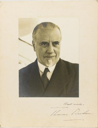 A large-format vintage photograph, inscribed and signed on the mount ('Best wishes, Thomas Beecham'