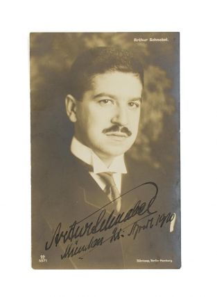 A postcard-format photograph signed and inscribed by Artur Schnabel ('Munchen 21 April 1920')....