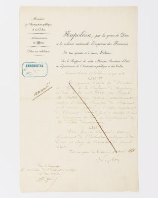A document signed 'Napoléon', confirming the appointment of a Lutheran pastor. NAPOLEON III,...
