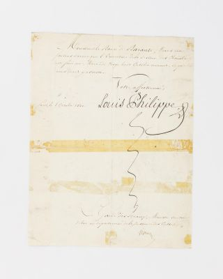 A manuscript document signed by Louis Philippe to the French Ambassador to Russia, Prosper de Barante