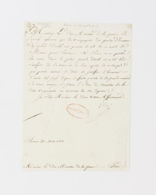 A letter signed by Elisa Bonaparte to her brother Napoleon's Minister of War,...
