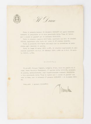 A typed document signed 'Mussolini' ('Roma, addì 7 gennaio 1939-XVII-'), reappointing two...