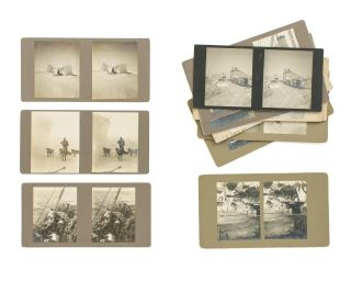 A collection of 14 stereophotographs from the expedition, mainly taken in the vicinity of the...