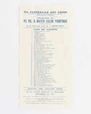 The Australian Art Union .. Collection of Oil & Water Color Paintings (Valued at £409 10s), By...