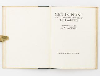 Men in Print. Essays in Literary Criticism. Introduction by A.W. Lawrence