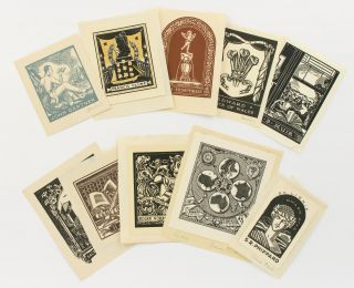 A collection of ten bookplates designed by Adrian Feint. Bookplates, Adrian FEINT