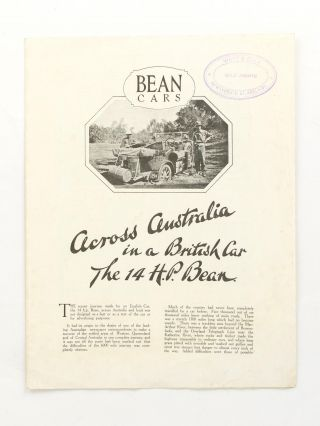 Across Australia in a British Car. The 14 HP Bean [drop title]. Motoring