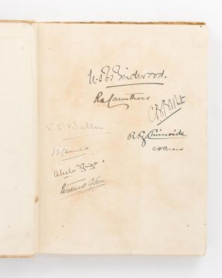 A collection of important signatures written on the endpaper of a copy of 'Told in the Huts. The...