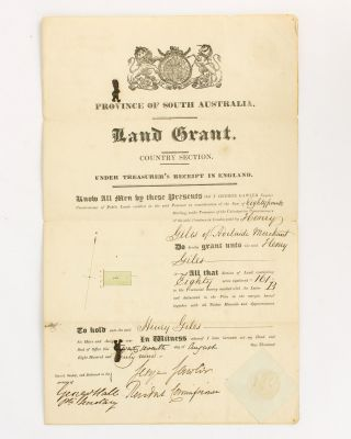 Province of South Australia. Land Grant. Country Section. Under Treasurer's Receipt in England.....