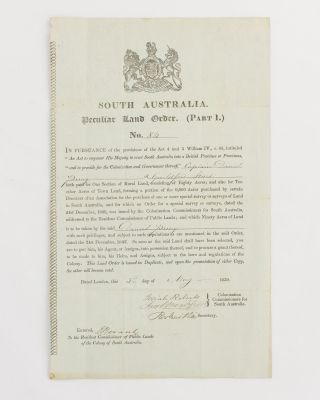 South Australia. Peculiar Land Order. (Part 1.) No. 84 [a printed document with manuscript...