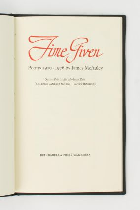 Time Given. Poems, 1970-1976