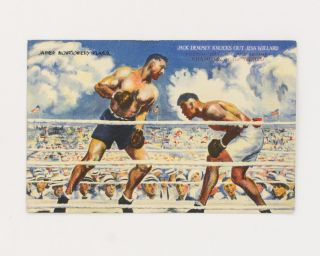 A postcard (reproducing the James Montgomery Flagg painting, 'Jack Dempsey Knocks Out Jess...