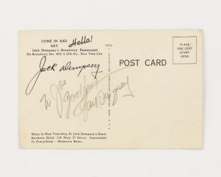 A postcard (reproducing the James Montgomery Flagg painting, 'Jack Dempsey Knocks Out Jess Willard') inscribed and signed by Jack Dempsey
