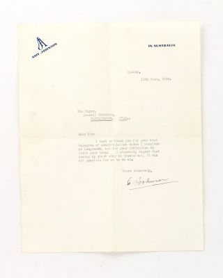 A typed letter signed by Amy Johnson to the Mayor of 'Narracoorte, Q'ld' [sic]. Amy JOHNSON