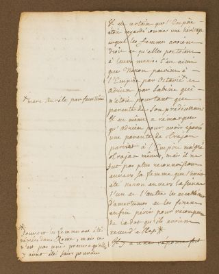 An early autograph document by Jean-Jacques Rousseau, regarding the role of women in ancient...
